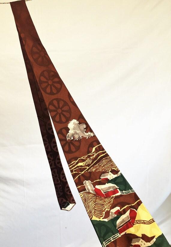 Vintage 40s 1940s Rare Novelty Rayon Tie Necktie-