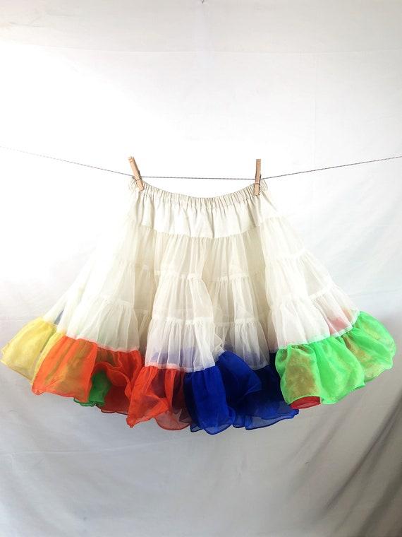Vintage Rainbow Tulle Crinoline Petticoat Tutu