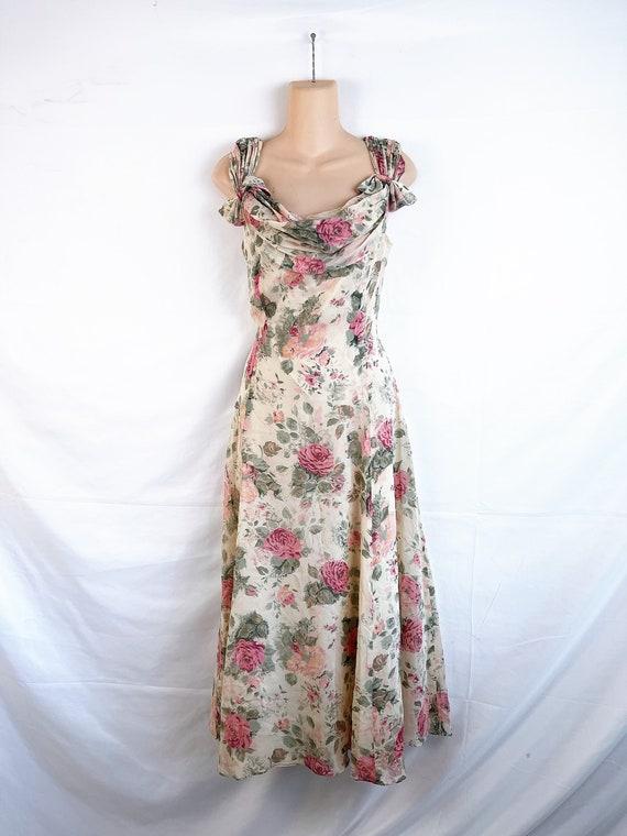 Vintage 90s Floral Laura Ashley Silk Summer Flora… - image 3