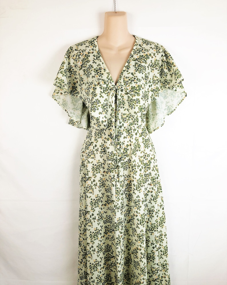 Vintage Floral Fun Maxi Polyester 1970s 70s Dress