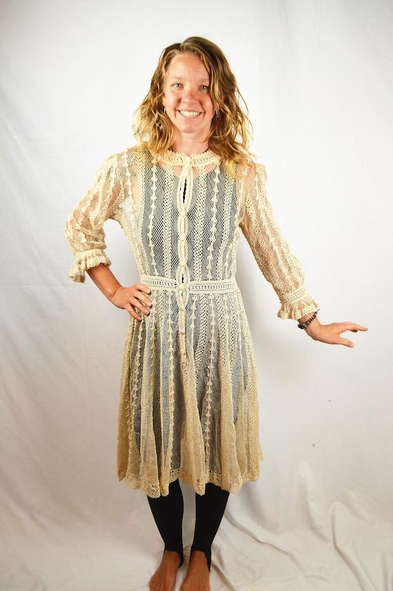 Amazing Vintage Crochet Sheer Lace Dress