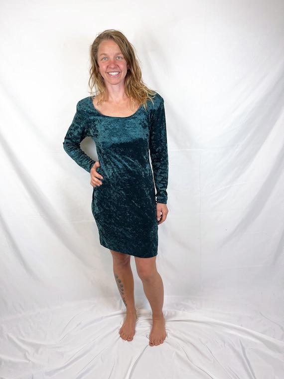 Vintage 90s 1990s Green Grunge Velvet Dress