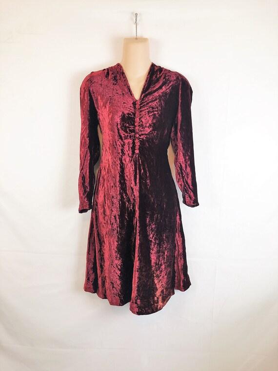 Vintage 1940s Maroon Red 40s Velvet Dress