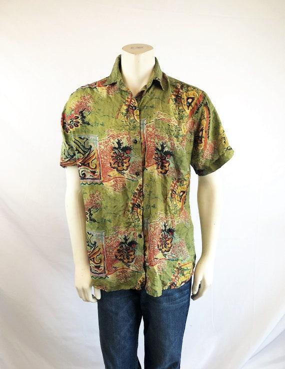 Fun Vintage 90s Silk Geometric Button Up Shirt - R