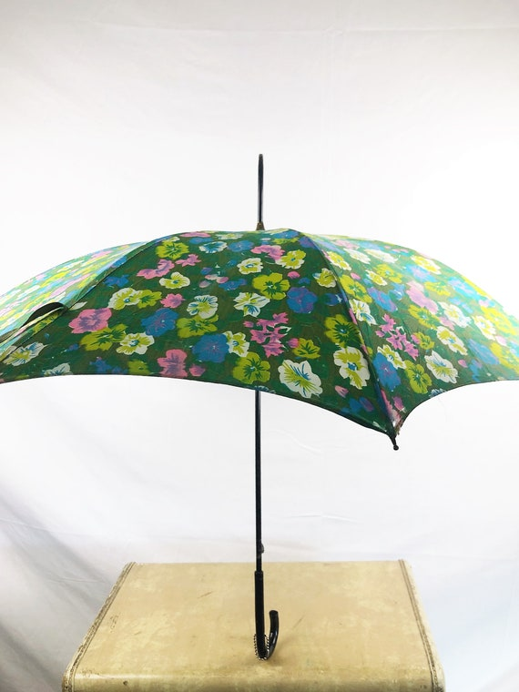 Vintage Basic Floral 1970s 70s Umbrella Parasol