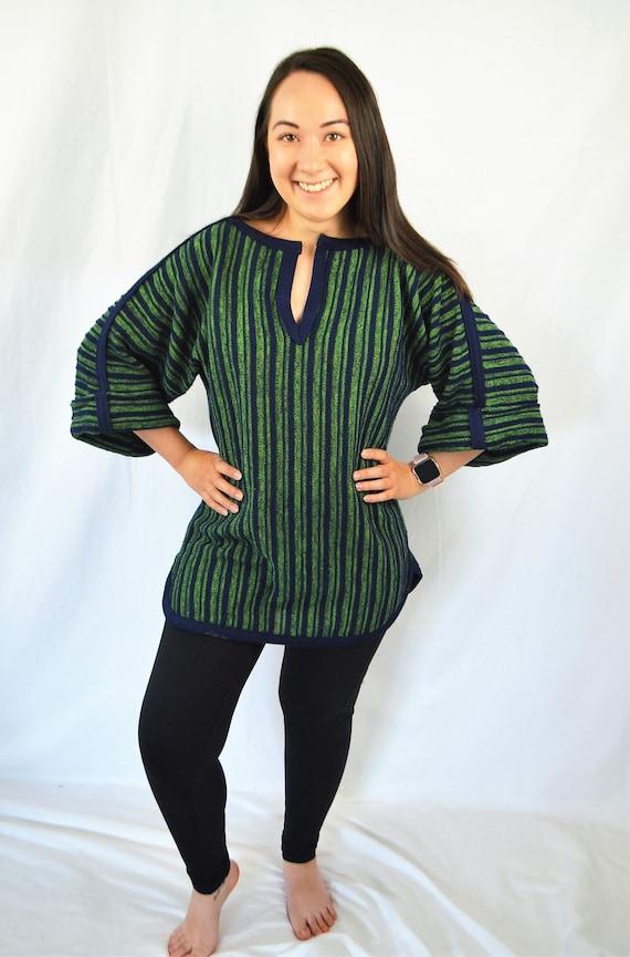 Vintage Woven Hippie Boho Blue Green Oversized St… - image 5
