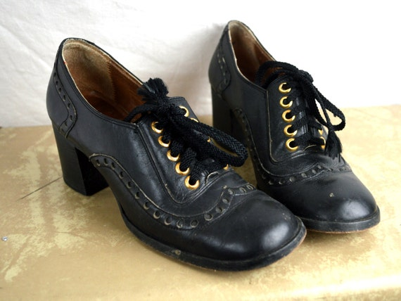 RARE Vintage 60s 70s Amazing Chunky Shoes - Grung… - image 1