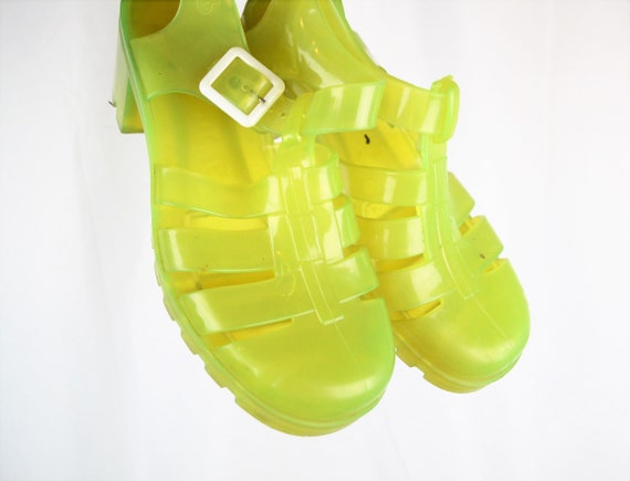 Vintage Neon Yellow 80s 90s Summer Jellies Jelly … - image 1