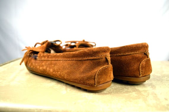 chaussures 1 mocassin Minnetonka 8 Mocs Vintage 2 taille cuir daim Frange BAYOqw