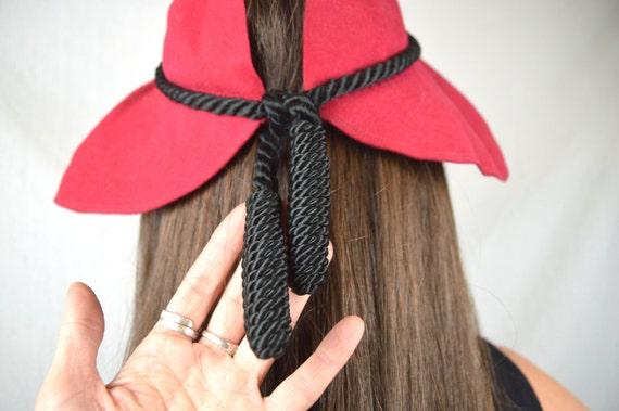 Vintage 1940s 40s 50s Red Wool Herme Fascinator H… - image 4