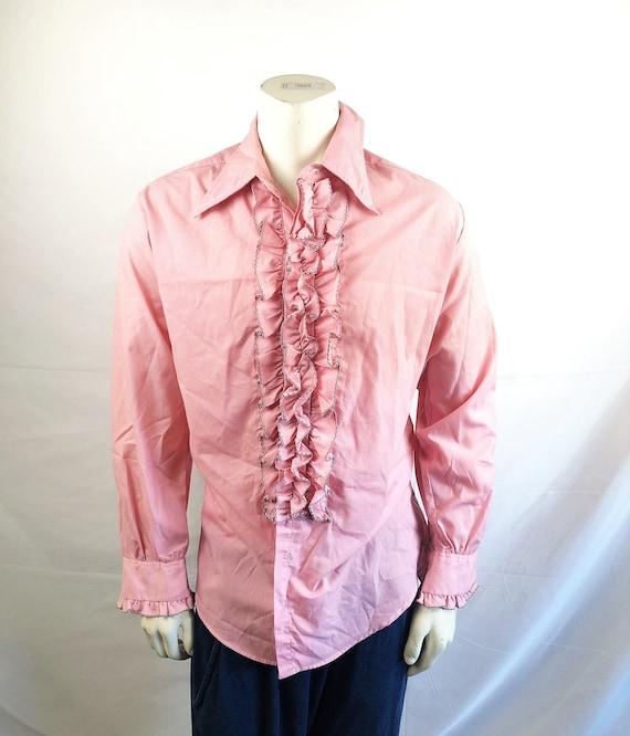 Vintage Men's 1970s 70s Pink Tuxedo Ruffled Button
