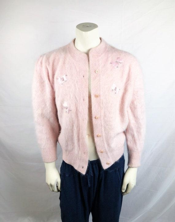 Vintage 80s 1980s 1990s Pink Lambswool Angora Over