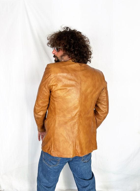Vintage 1970s 70s Brown Leather Jacket Blazer Coat - image 3