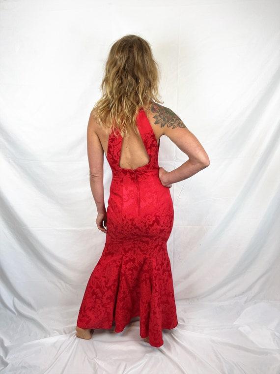 Vintage 1980s 90s Red Sexy Jessica McClintock Gun… - image 4