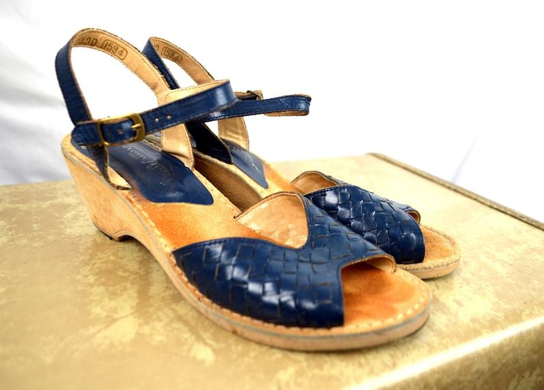 8349faf4662 Vintage Thom McAn Suede Blue Leather Wedge Sandals