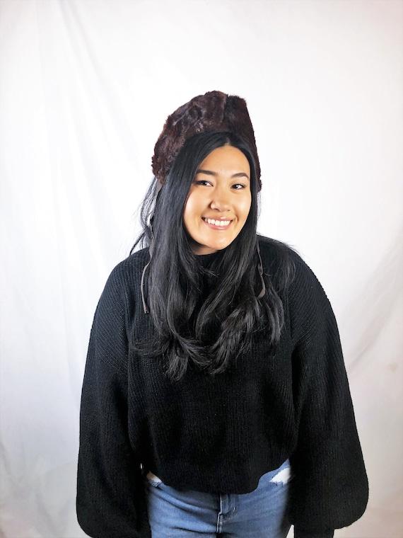 Vintage 1960s 50s Fur Mink Crown Headband Fascina… - image 1