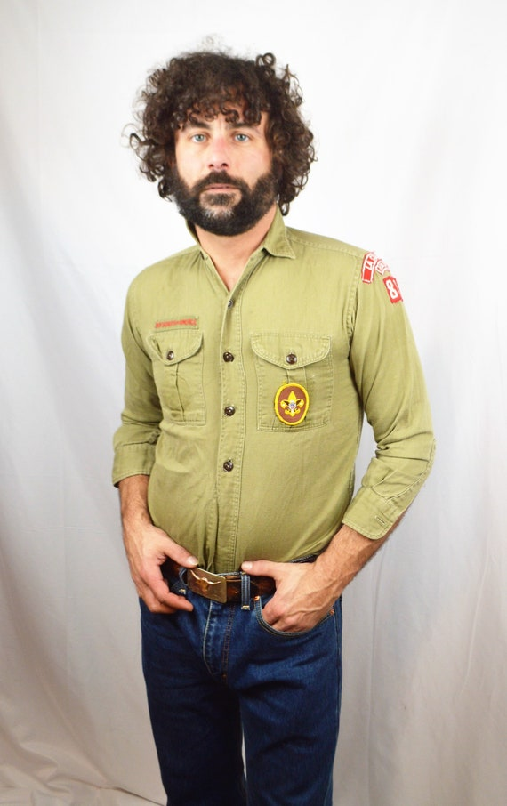 Vintage 60s 70s Boy Scouts of America Button Up Official Shirt