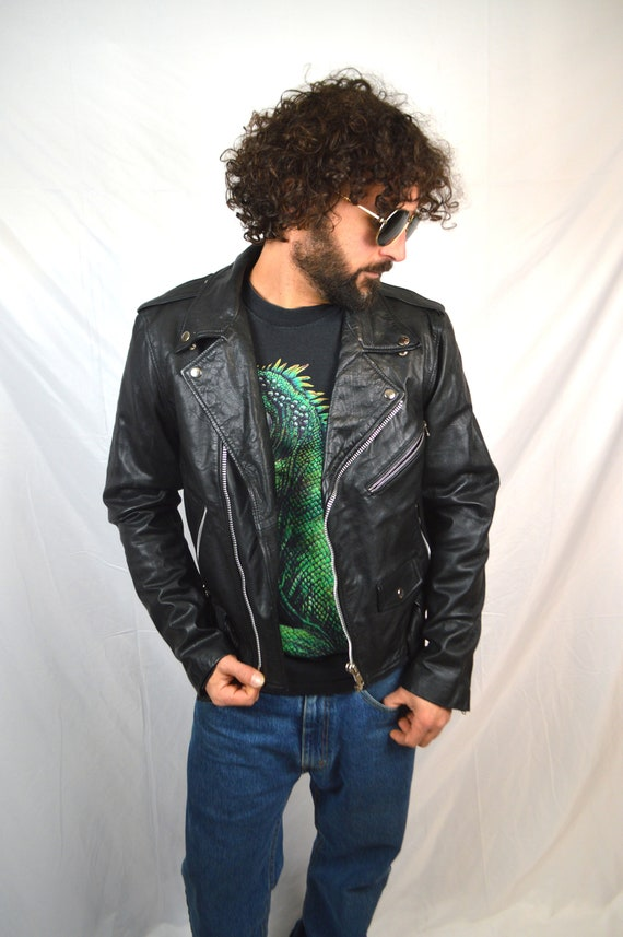 Leather Punk Rocker Coat Jacket Black Vtg Vintage Motorcycle 90s Biker wqtUpp