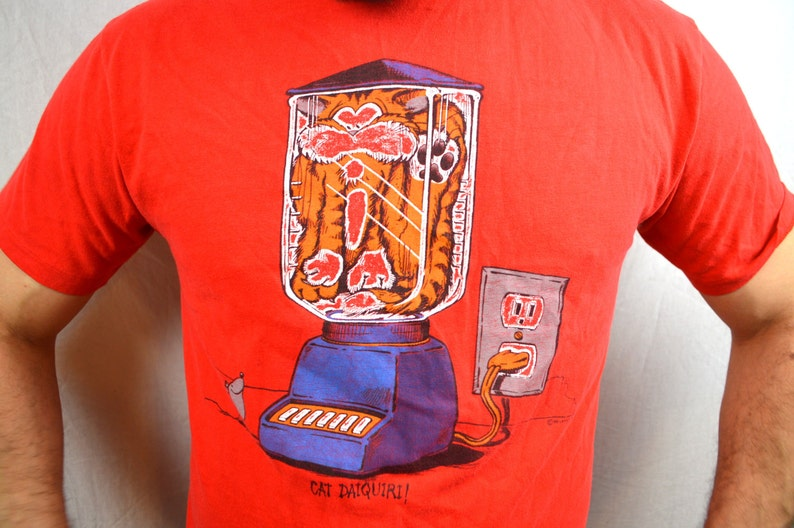 Vintage 80s 1986 RedFunny Cat Mouse Blender Comic Cartoon Tee Shirt Tshirt