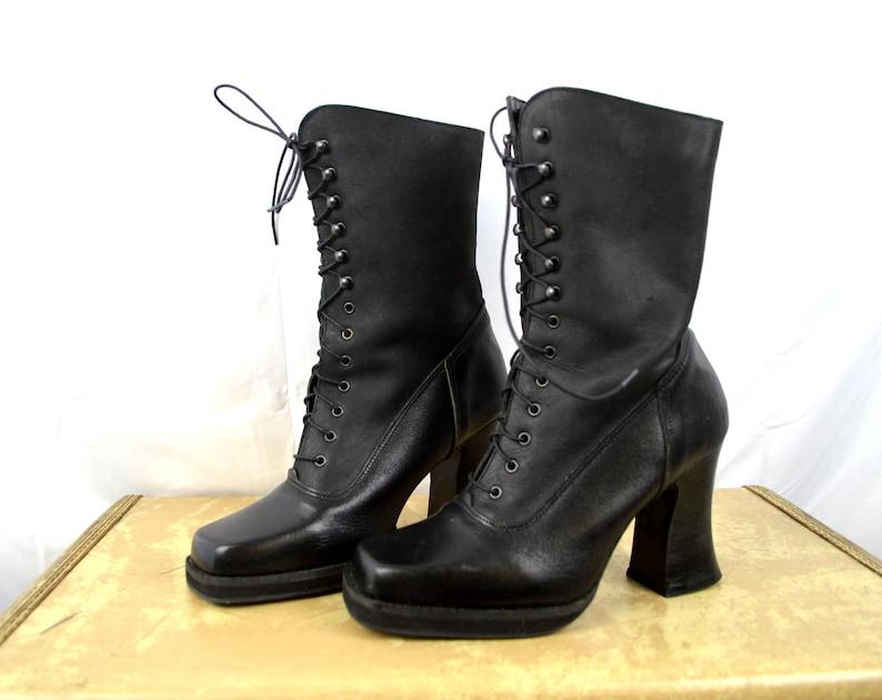 090ed41f9f6 Vintage 90s Platform Heel Grunge Goth Punk Club Kid Boots Lace