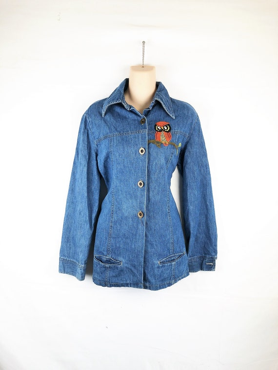 WOW 1970s 70s Owl Embroidered Denim Jacket - By H.