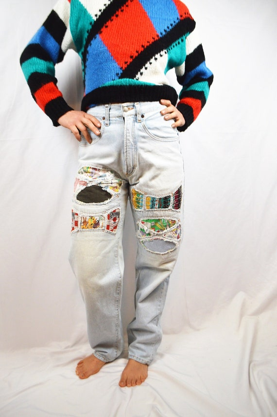 Vintage 80s Amazing Patch Chewan High Waisted WOW