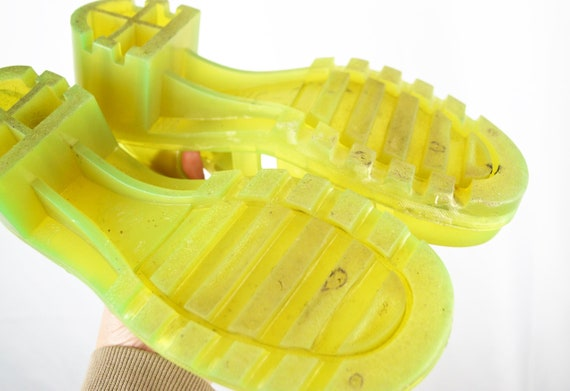 Vintage Neon Yellow 80s 90s Summer Jellies Jelly … - image 5