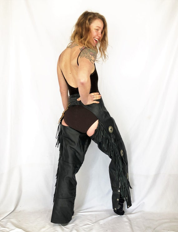 Vintage Western Black Leather Rodeo Western Chaps