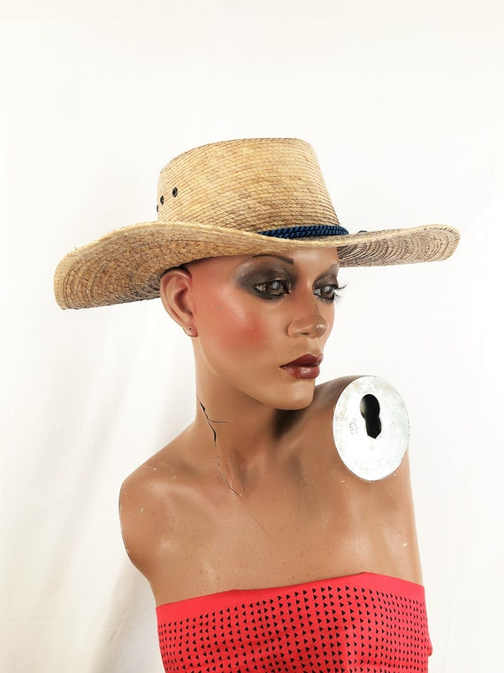 Vintage Summer Woven Straw Sun Hat - image 4