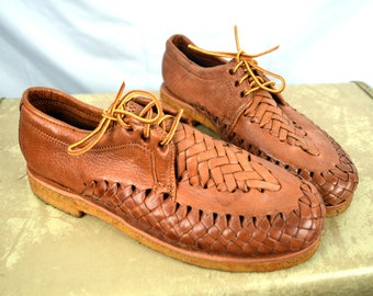 Cute Vintage Woven Leather Huaraches Sandals Shoes -- Made in Mexico