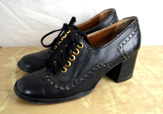 RARE Vintage 60s 70s Amazing Chunky Shoes - Grung… - image 5
