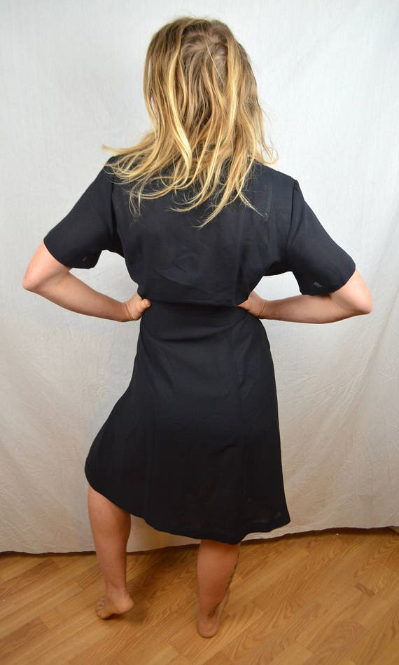 Pleated Vintage 1940s Black White Dress 40s n7x07U