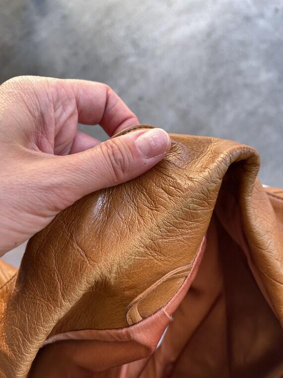 Vintage 1970s 70s Brown Leather Jacket Blazer Coat - image 7