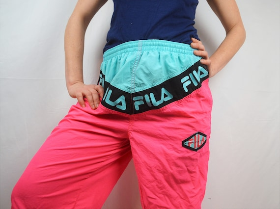 Vintage 1990s 90s Neon Pink FILA Ski Track Pants