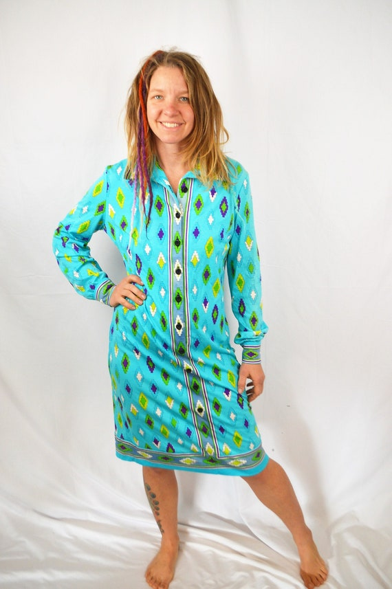 Vintage 1970s 70s Mod Couture Psychedelic Dress -