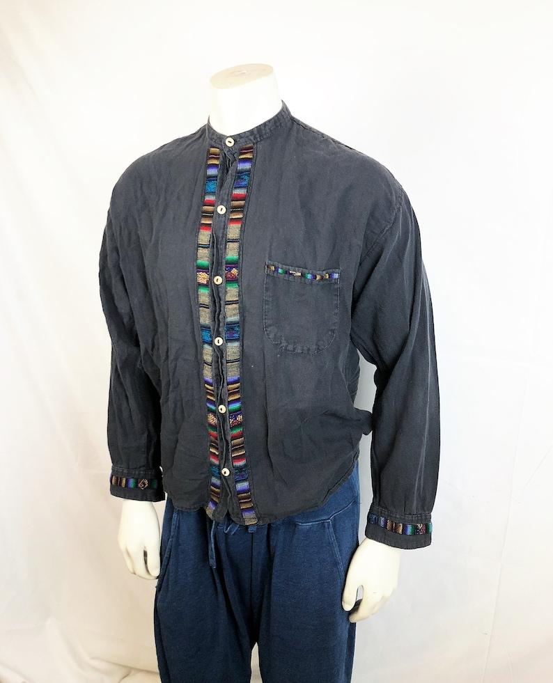 Vintage 80s 1980s 90s Ecuador Button Up Top Shirt