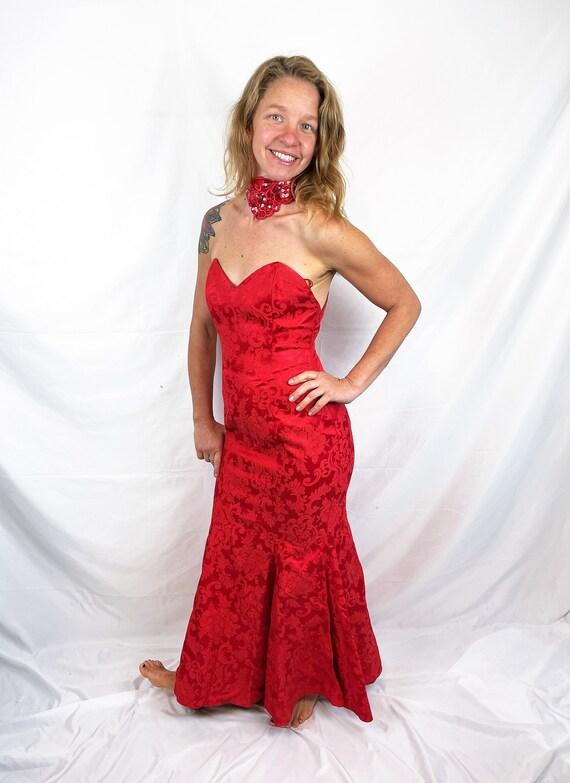 Vintage 1980s 90s Red Sexy Jessica McClintock Gun… - image 3