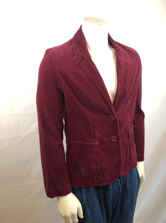 Vintage 1980s 80s Red Velvet Party Jacket Blazer … - image 3