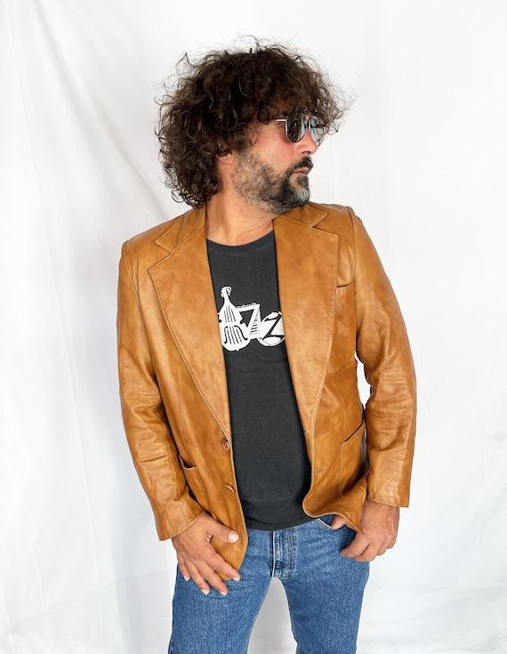 Vintage 1970s 70s Brown Leather Jacket Blazer Coat - image 2
