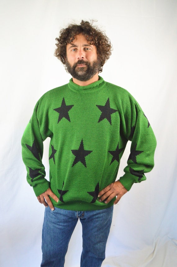 Vintage 80s WOW Green Wool Star Oversized Sweater