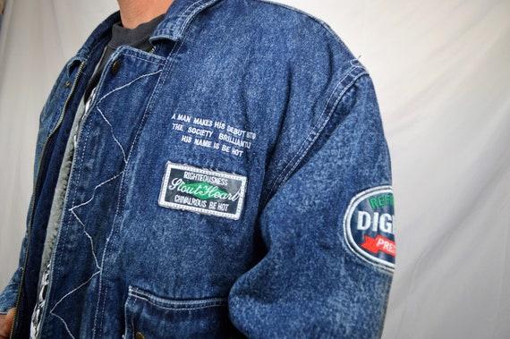 80s WOW Vintage Denim Coat Jean Great 1980s Fleece Weird Kongloon Jacket FUUqw5nHg6
