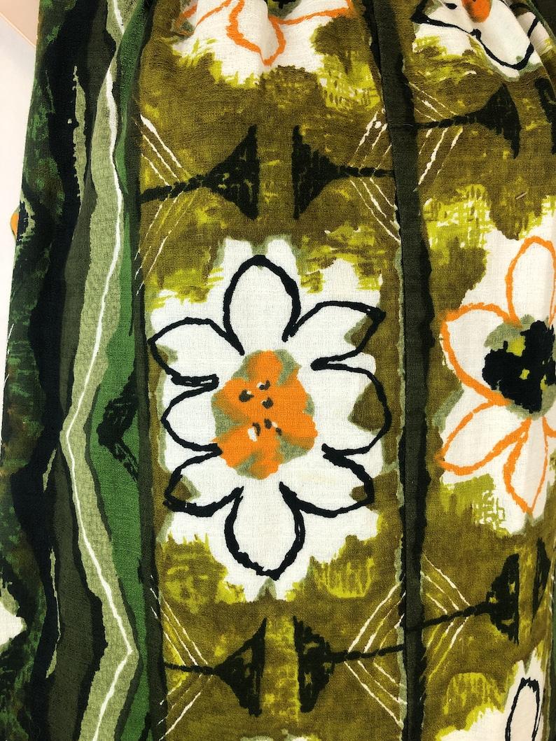 Vintage 1960s Kiyomi Hawaii Tiki Bark Cloth Hawaiian Maxi Dress