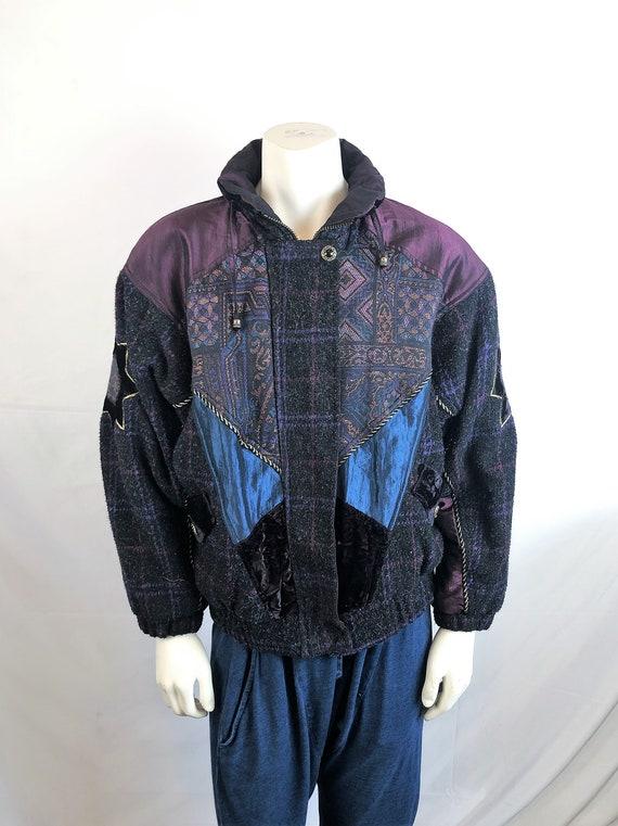 hip hop hipster oversize outerwear vintage 80s black nylon unisex coat 1980s top metallic gold reversible bomber jacket os one size