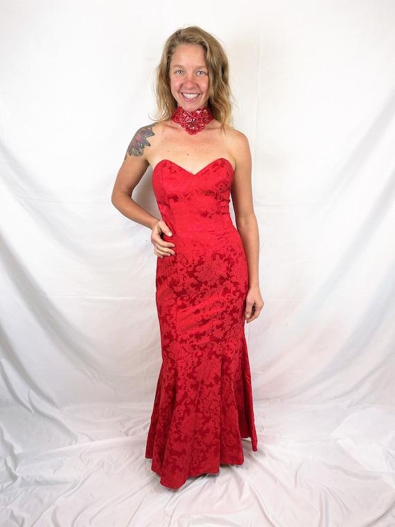 Vintage 1980s 90s Red Sexy Jessica McClintock Gunn