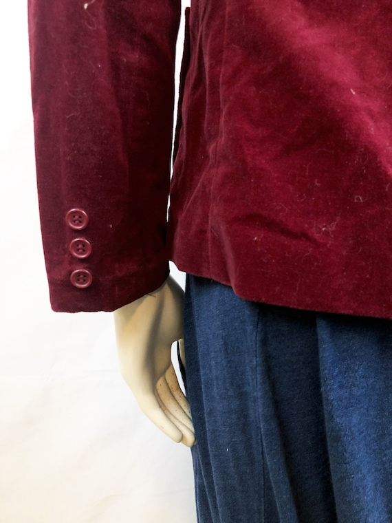 Vintage 1980s 80s Red Velvet Party Jacket Blazer … - image 5