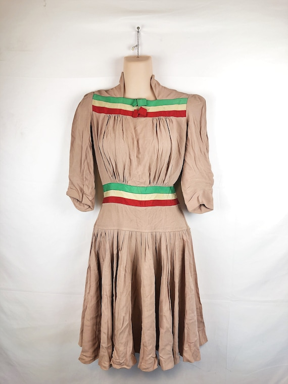 Amazing Vintage 1940s 40s Rayon Dress