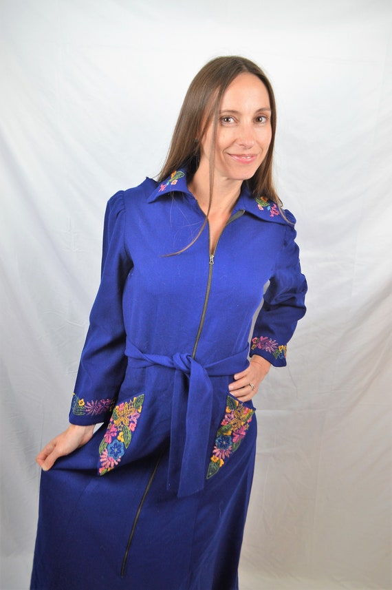 Vintage Wool Bright Blue Embroidered 1930s RARE Dr