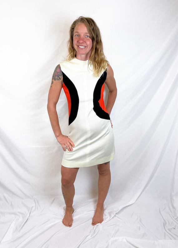 Vintage 1970s 70s Mod Orange Black White Fun Dress