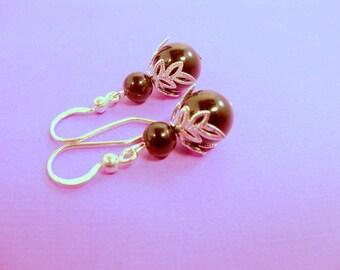 Earrings, Black Pearl,  Silver Accents, Black Earrings, Black and Silver, Black,  Bridesmaid Earrings