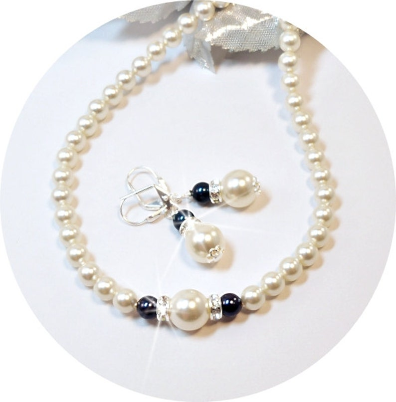 Navy Blue Necklace and Earrings Ivory Bridesmaid Jewelry Blue Pearl Jewelry Set Dark Blue Wedding Jewelry Mother of the Groom